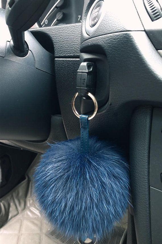 Navy Blue Fur Key chain Pom Pom Key Ring Bag Charm by JTTWest