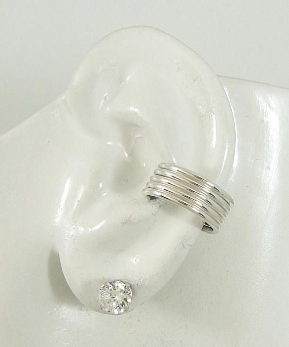 POST Conch Piercing, Solid Sterling Silver 5 strand Cartilage Earring, Gauge Piercing, Pierced Conch Hoop Earring, Cartilage Cuff, E5HRSSP