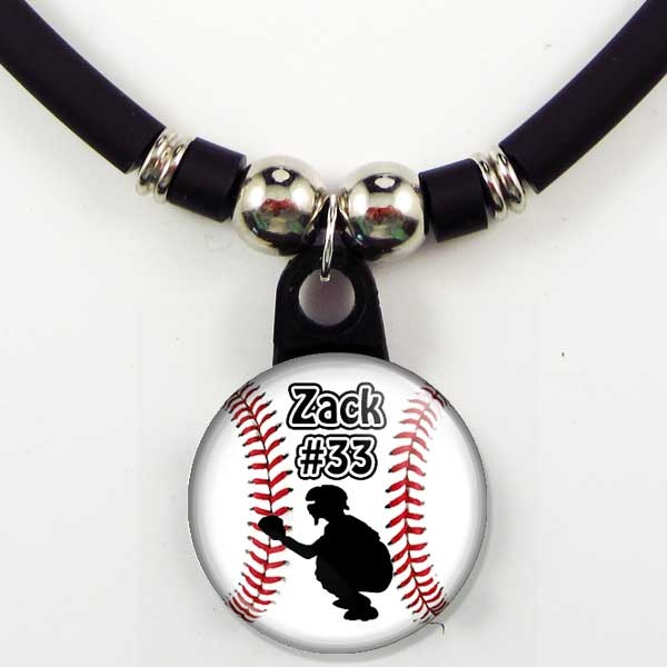 Personalized Baseball Catcher Necklace With Your Name/Number***737