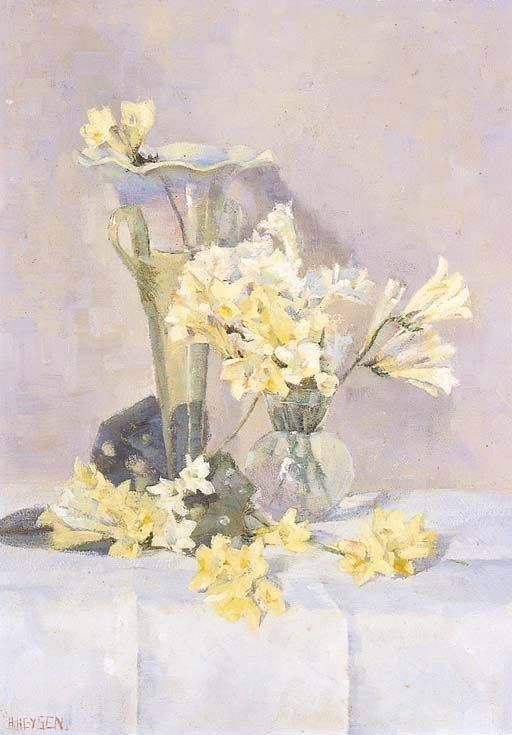 Hans Heysen (1877-1968) Australia Still Life, Fresias