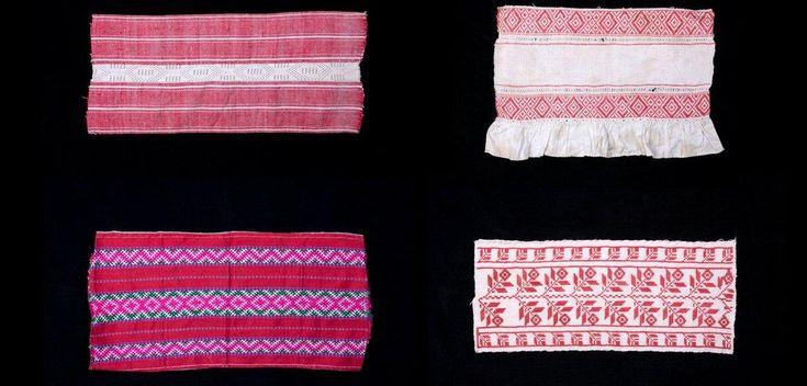 ОБРАЗЦЫ СТАРИННОГО ДОМОТКАНОГО ПОЛОТНА.  Такие куски по 40 см (максимальная ширина ткацкого станка) использовались потом как декоративные вставки в рубахи, фартуки, полотенца.