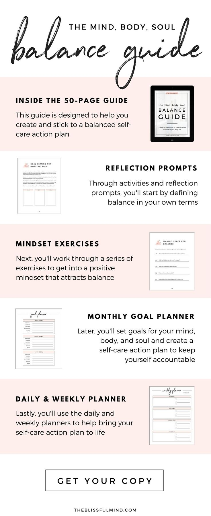 The Ultimate Self-Care Guide. 50 pages of prompts, exercises, and reflections to help you get back into balance!