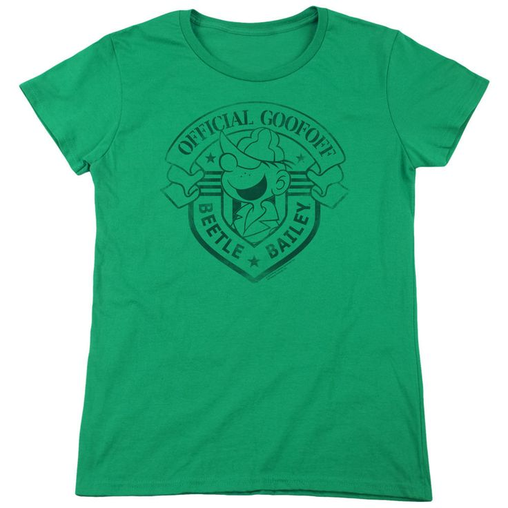 Beetle Bailey Official Badge Kelly Green Womens T-Shirt