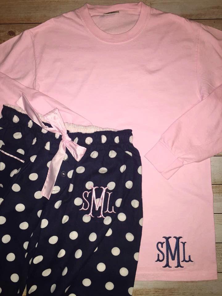Monogrammed Lounge wear/monogrammed adult sleep pants/comfort colors longsleeve shirt by DBKMonograms on Etsy https://www.etsy.com/listing/247414836/monogrammed-lounge-wearmonogrammed-adult