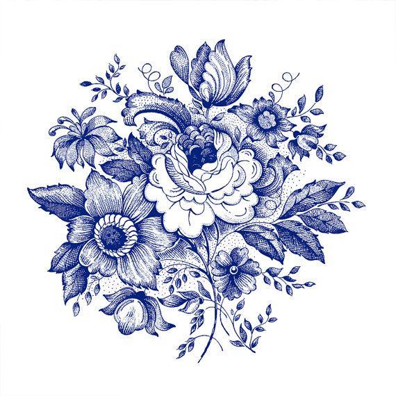 Large Blue Flowers temporary tattoo Pattern Tattoo by ArrowTattoo