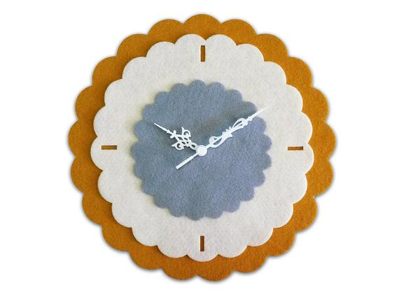 Kitchen Wall Clock Retro Clock Fabric Wall By Mirshkastudio