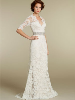 lace over a line romantic sweetheart wedding dress with three quarter sleeve...very traditional