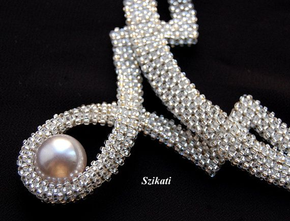 White Pearl/Seed Bead Statement Necklace Bridal by Szikati on Etsy