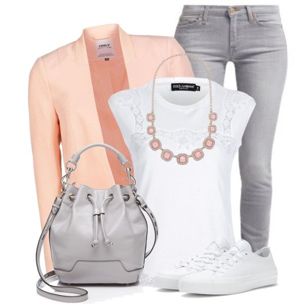 Peach & Grey by wishlist123 on Polyvore
