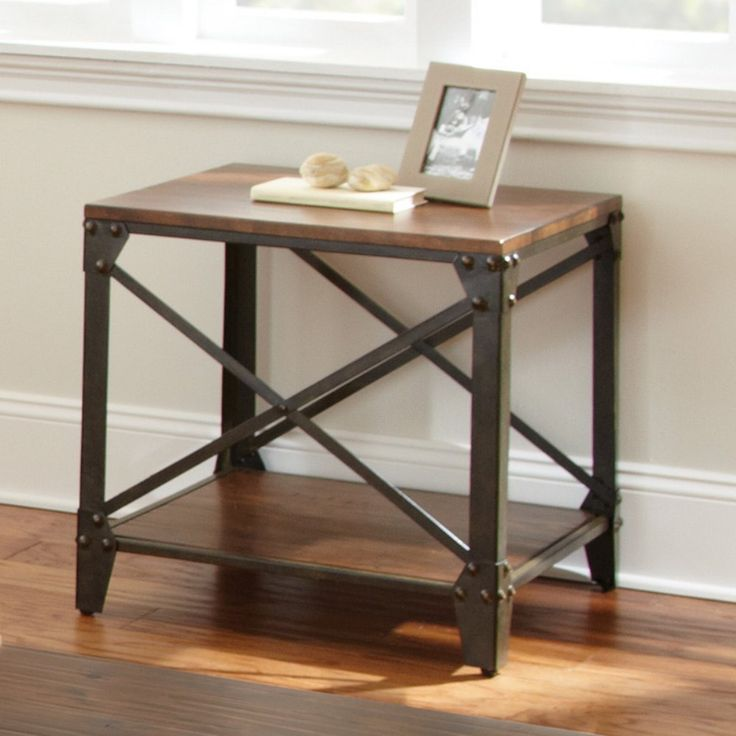 Steve Silver Winston Square Distressed Tobacco Wood and Metal End Table - It may be a side piece, but the Steve Silver Winston Square Distressed Tobacco Wood and Metal End Table has the kind of style that takes center st...
