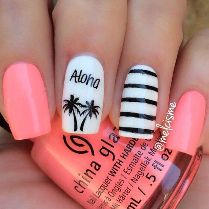 Aloha white-pink-black-nail-design-Palm-trees-stripes