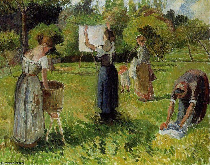 """Camille Pissarro (1830-1903) ~ """"Blanchisseuses à Eragny"""", 1901 ~ Huile sur Toile 38.7 x 50.5 cm ~ Collection Privée"""