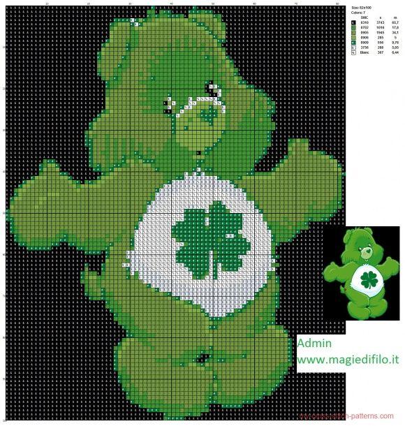 Good Luck Bear cross stitch pattern