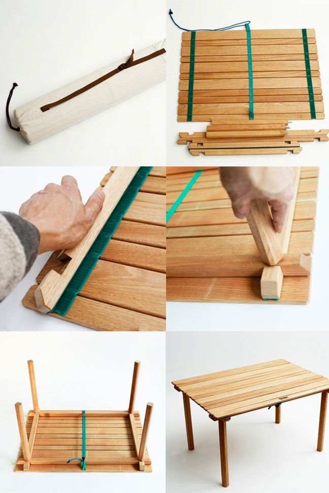 Portable roll-up wooden camp table