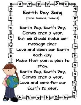 "Earth Day Song (Tune: ""Twinkle, Twinkle""; from Miss Kindergarten)"