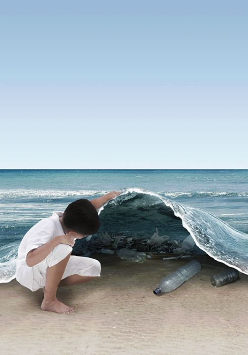 This image sums up our oceans, beaches, and rivers today. The plastics represents that most of our bodies of water is polluted and filled with garbage.