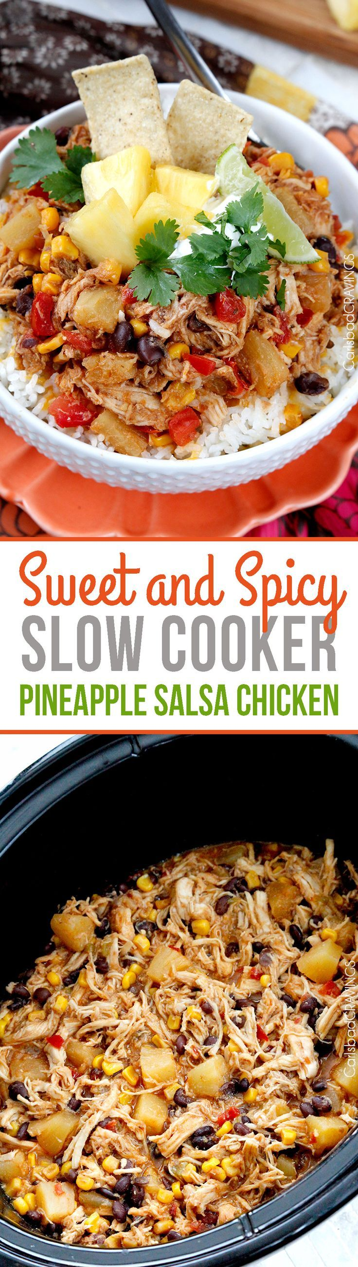 Slow Cooker Sweet and Spicy Pineapple Chicken - crazy good EASY, flavorful sweet, savory and spicy chicken for burrito bowls, salads, burritos, etc. #slowcooker #salsachicken #Mexicanchicken