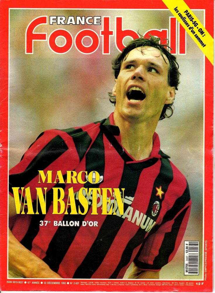 France Football magazine in Dec 1992 featuring Marco Van Basten of AC Milan on the cover.