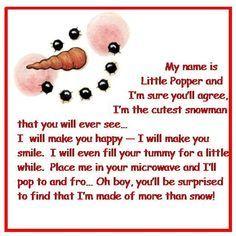 Popcorn snowman poem