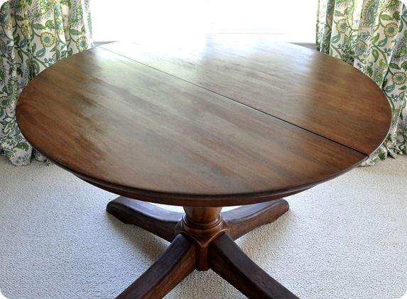 How to restain a wood table top - Minwax Pre-Stain Wood Conditioner, Minwax Wood Finish stain, sandpaper (80, 220), Deft Clear Wood Finish