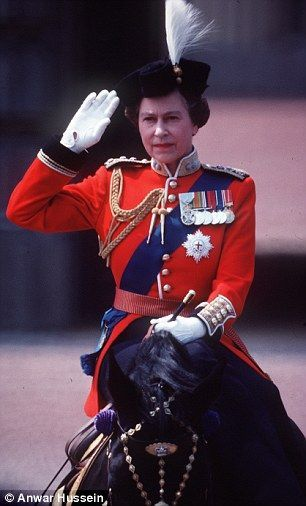 The Queen, riding her favourite horse Burmese, takes the salute at Trooping of the Colour ceremony outside Buckingham Palace, London in 1983