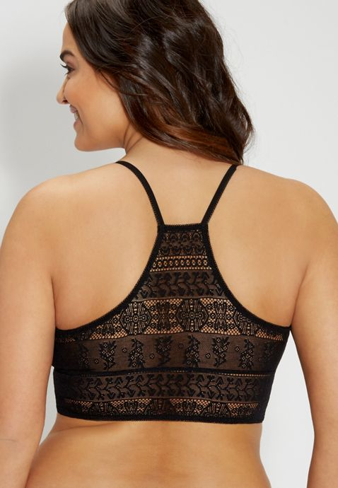Finally, a solution instead of a problem. Plus size lace racerback bralette in black | maurices