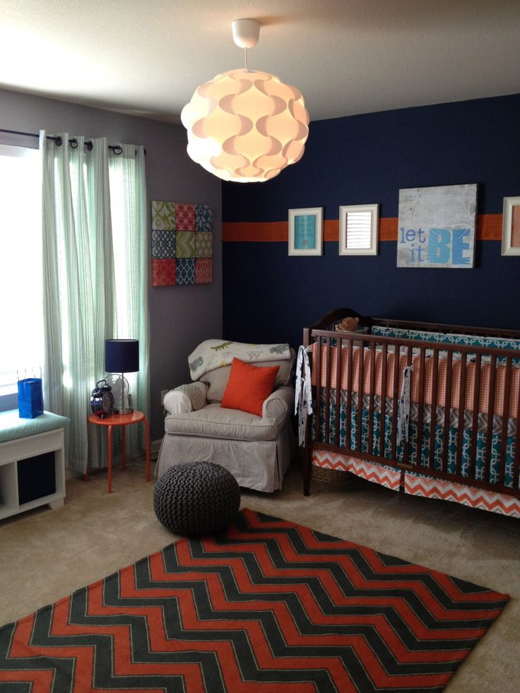 Navy and Red Boy Nursery Room with Beatles inspiration. LOVE.
