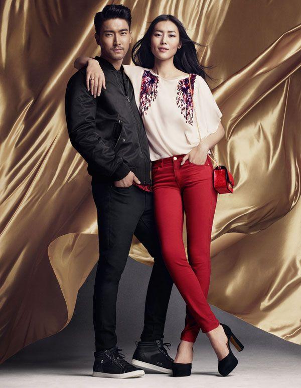Siwon ♡ Liu Wen posing for H & M 2016 New Year campaign #siwon #Liu wen