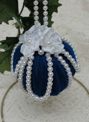 Handmade Christmas ornament. Flag blue velvet, shiny white pearls. Satin ribbon flowers. Follow the link to see more pictures.