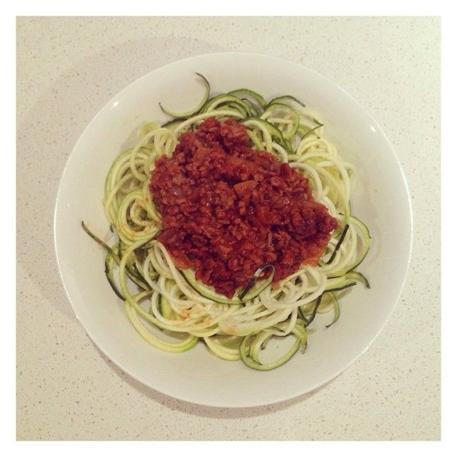 Zoodles with bolognese. The perfect dinner without the pasta www.diaeta.com.au