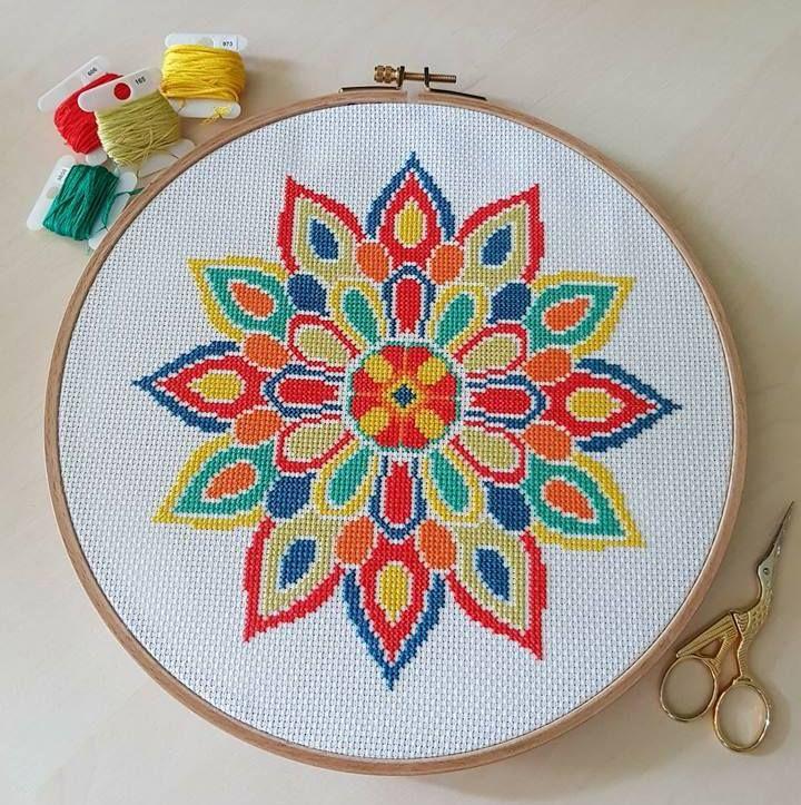 Mandala Cross Stitch Pattern Modern Pattern Pdf Diy Instant