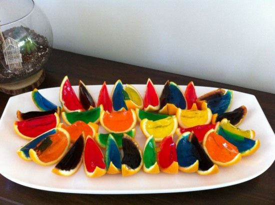 Rainbow orange peel Jello shots | Offbeat Home