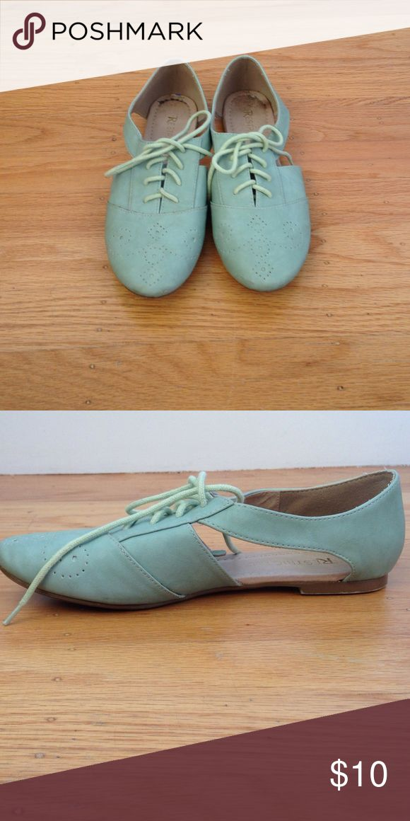 Cutout Oxfords An adorable pair of mint green cutout oxfords! In good condition! Only very lightly worn (once or twice). Has a cute laser-cut design on the toe and ties up with laces. Restricted Shoes Flats & Loafers