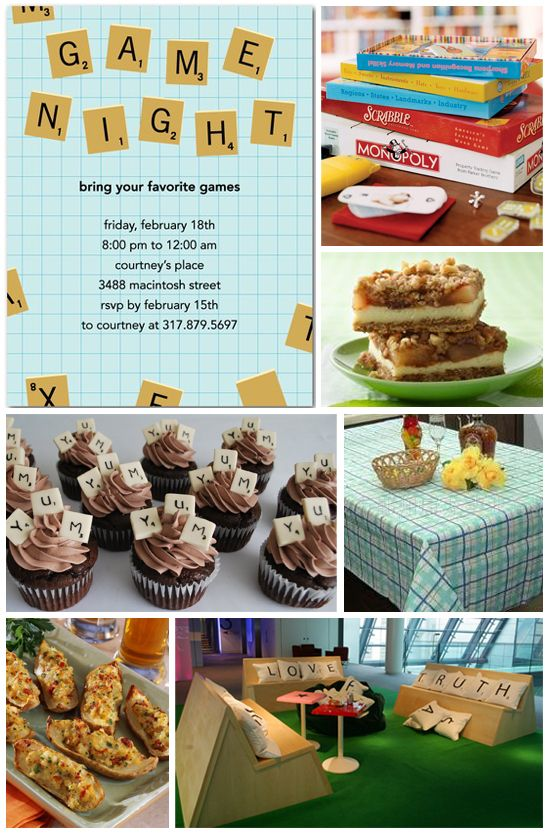 Your favorite board games and some easy snacks are all you need for a fun game night party! --love the cupcakes!
