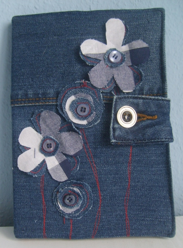 Denim Book Cover Diy : Denim book cover with flowers besser ein kreativer