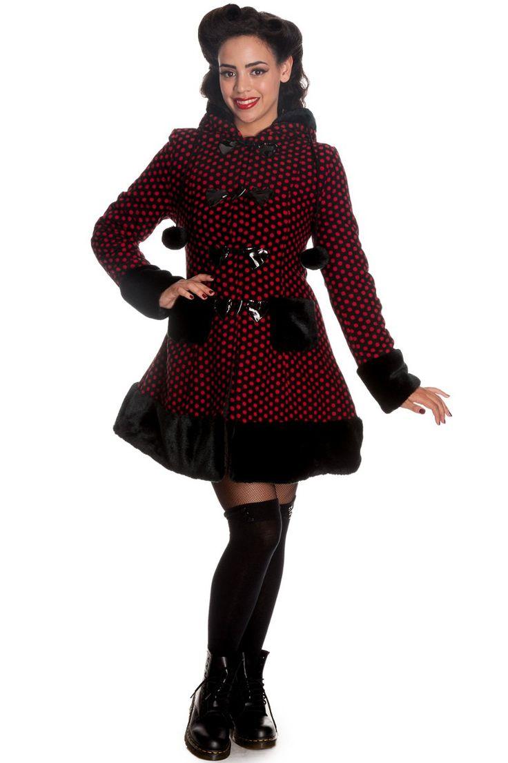 Manteau Mika coat rouge et noir - Femme - Hell Bunny