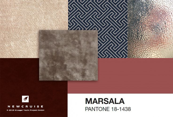 Marsala Material Moodboard by NEWCRUISE - Yacht Projects & Design  Pantone Color of the Year 2015