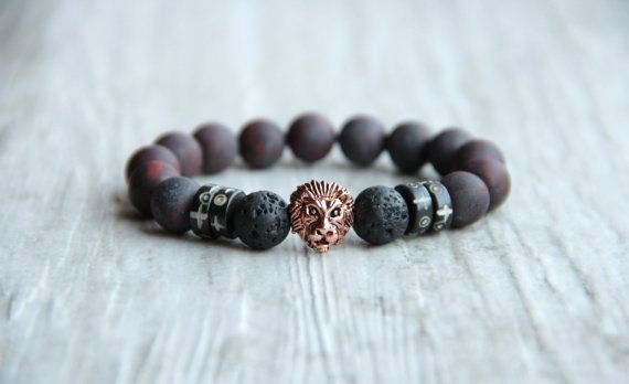 Men lion bracelet Dark red bracelet Matte by AllAboutHandmade1