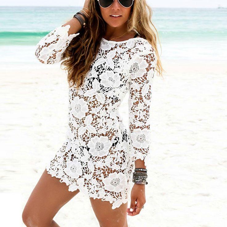 Summer Beach Dresses Sexy Lady Long Sleeve O-neck Mini Dress Hollow Out White Lace Dress Vestido
