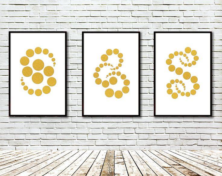 Geometric art. Set of three Gold glitter circles, Modern art, Art print, Gold glitter,Modern Geometric Wall Decor, Digital, Large canvas by GecleeArtStudio on Etsy