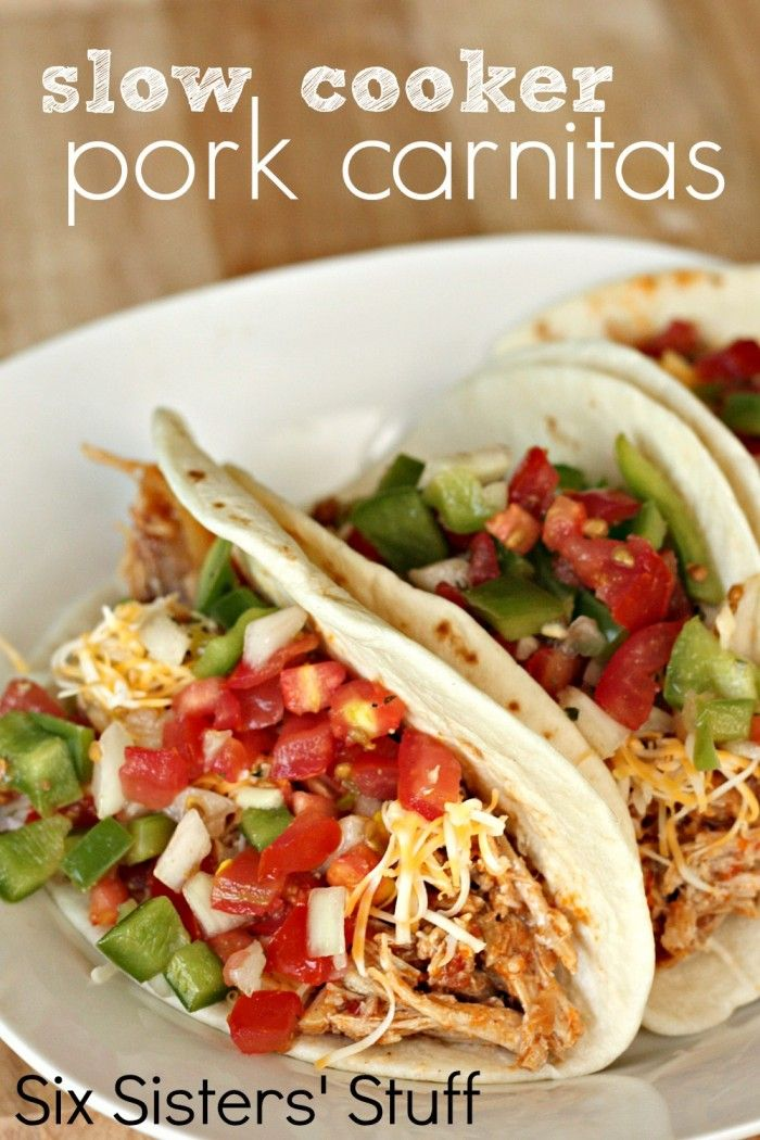 Slow Cooker Pork Carnitas from SixSistersStuff.com. An easy dinner your whole family will love!