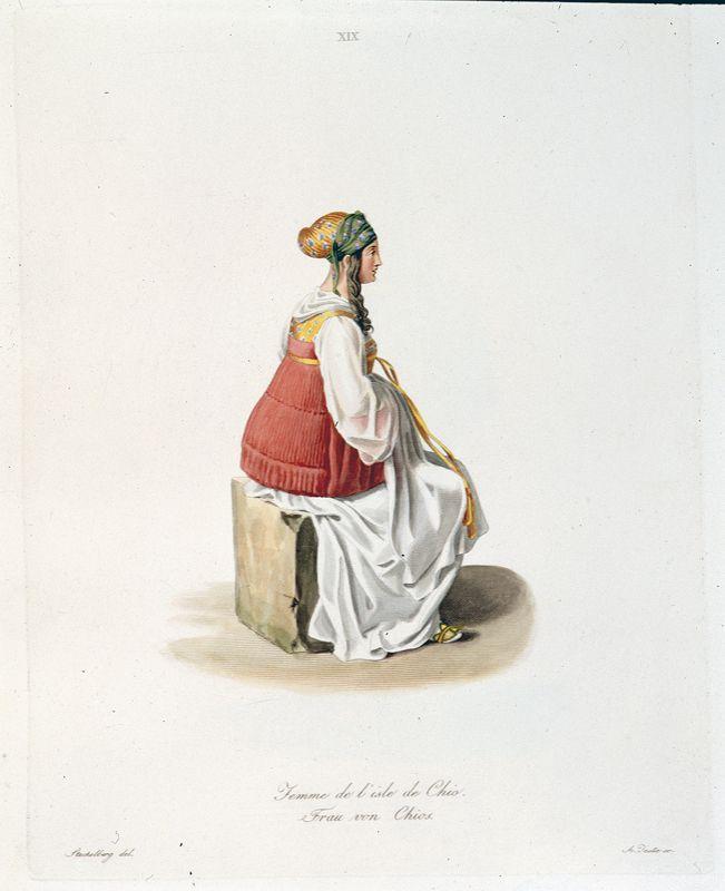 Otto Magnus von Stackelberg, Femme de l'isle de Chios (Γυναίκα από τη Χίο), Rome 1825. Alpha Bank Photographic Archive