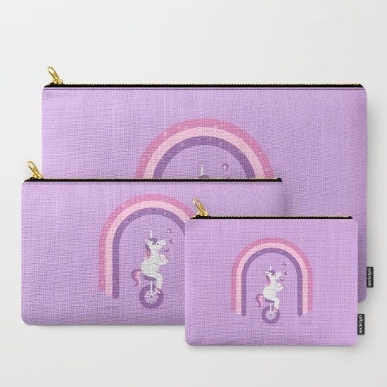 Unicycle Unicorn Carry-All Pouch - unicorn, unicorns, juggling, juggler, unicycle, unicycles, rainbow, rainbows, mythical, cryptid, magic, magical, imagination, star, stars, pink, purple, cute, fun, kids, vector, art, illustration, design, cartoon