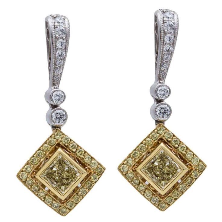Beaudry Fancy Yellow Diamond Gold Platinum Earrings 1