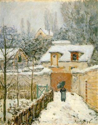 Neige à Louveciennes - Alfred Sisley - Tableaux et dessins