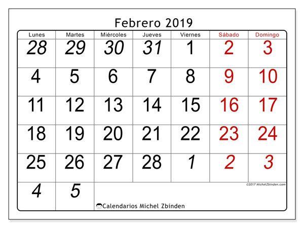 Calendario Agosto 2019 Numeros Grandes.Calendario Febrero 2019 72ld Dibujos Pedagogicos