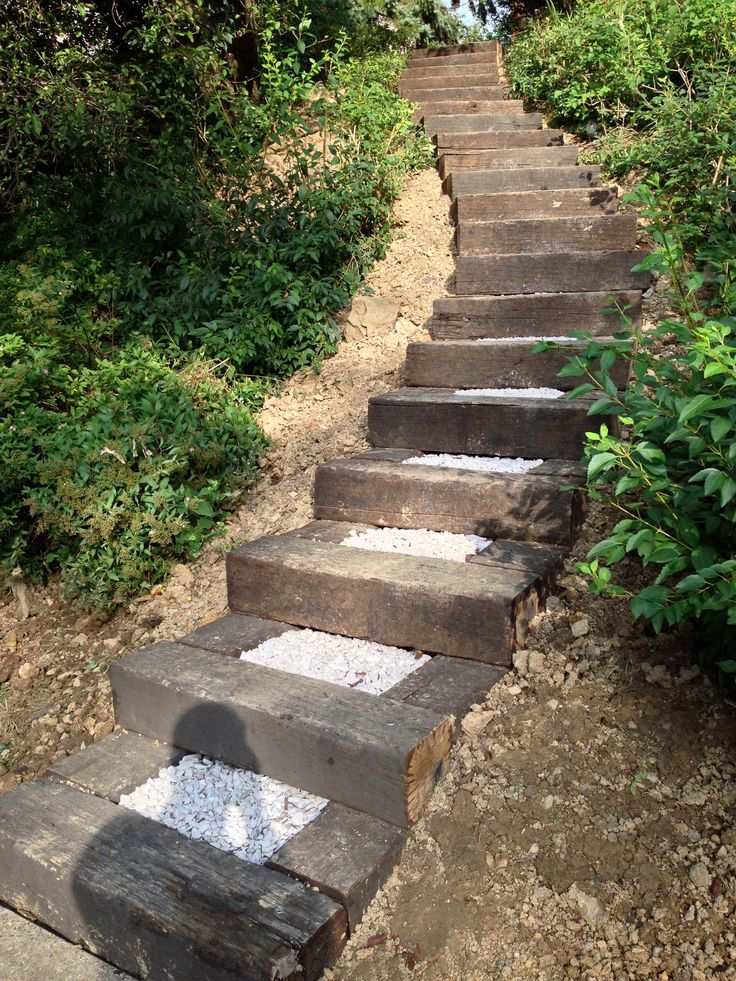 Railroad ties landscaping steps railroad ties in for Steps in building a home