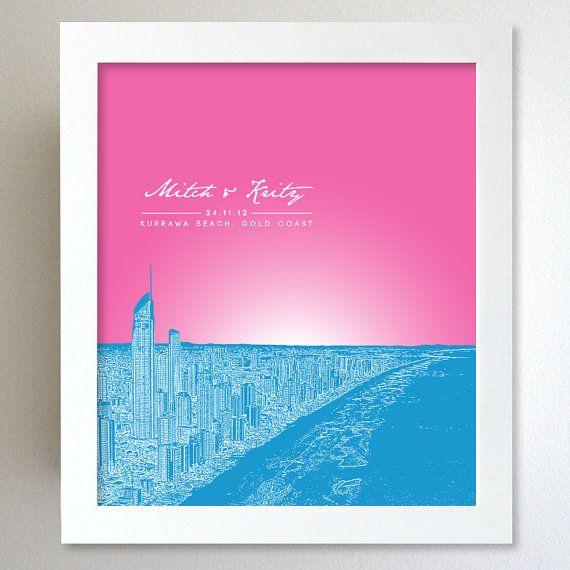 Personalize Anniversary Gift / Gold Coast Kurrawa Beach Australia Skyline Poster / Any City or Landmark / Personalized holiday gifts