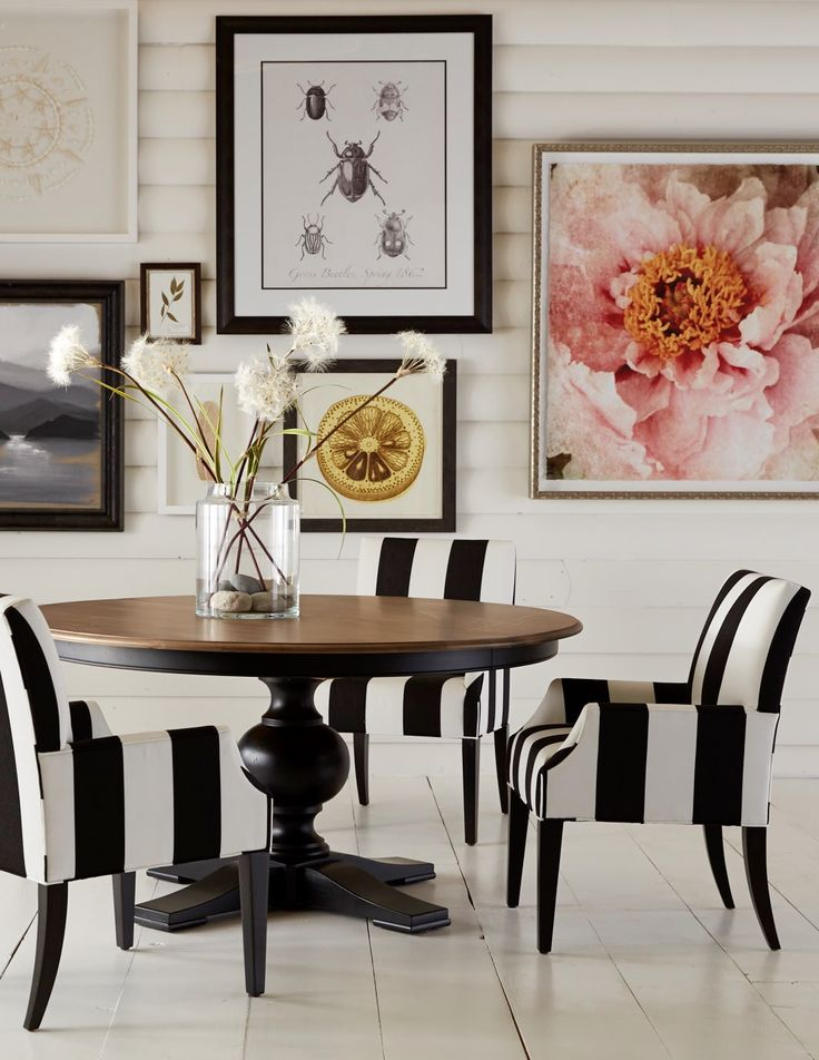 So much to love! The Cooper Table takes center stage, surrounded by Clinton Armchairs upholstered in a bold black and white stripe. All of the artwork on the wall is available through Ethan Allen! http://www.ethanallen.com/en_US/shop-furniture-dining-room-tables/cooper-round-dining-table/156733.html?site=