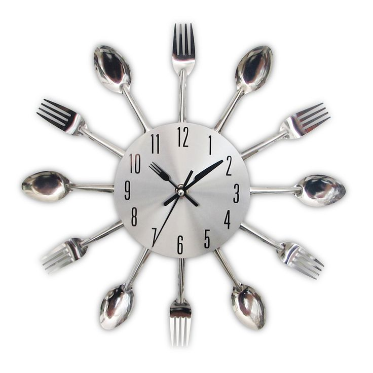 2017 new modern kitchen wall clock sliver cutlery clocks spoon fork creative wall stickers mechanism design - Designer Kitchen Wall Clocks